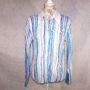 Cache Shirt Top M Crinkled Button Front Blue White